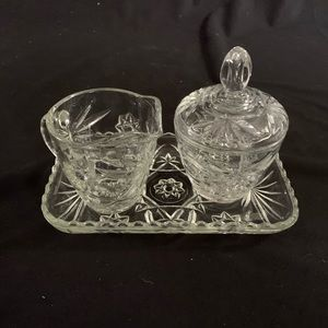 Pinwheel Sugar and creamer Glass set